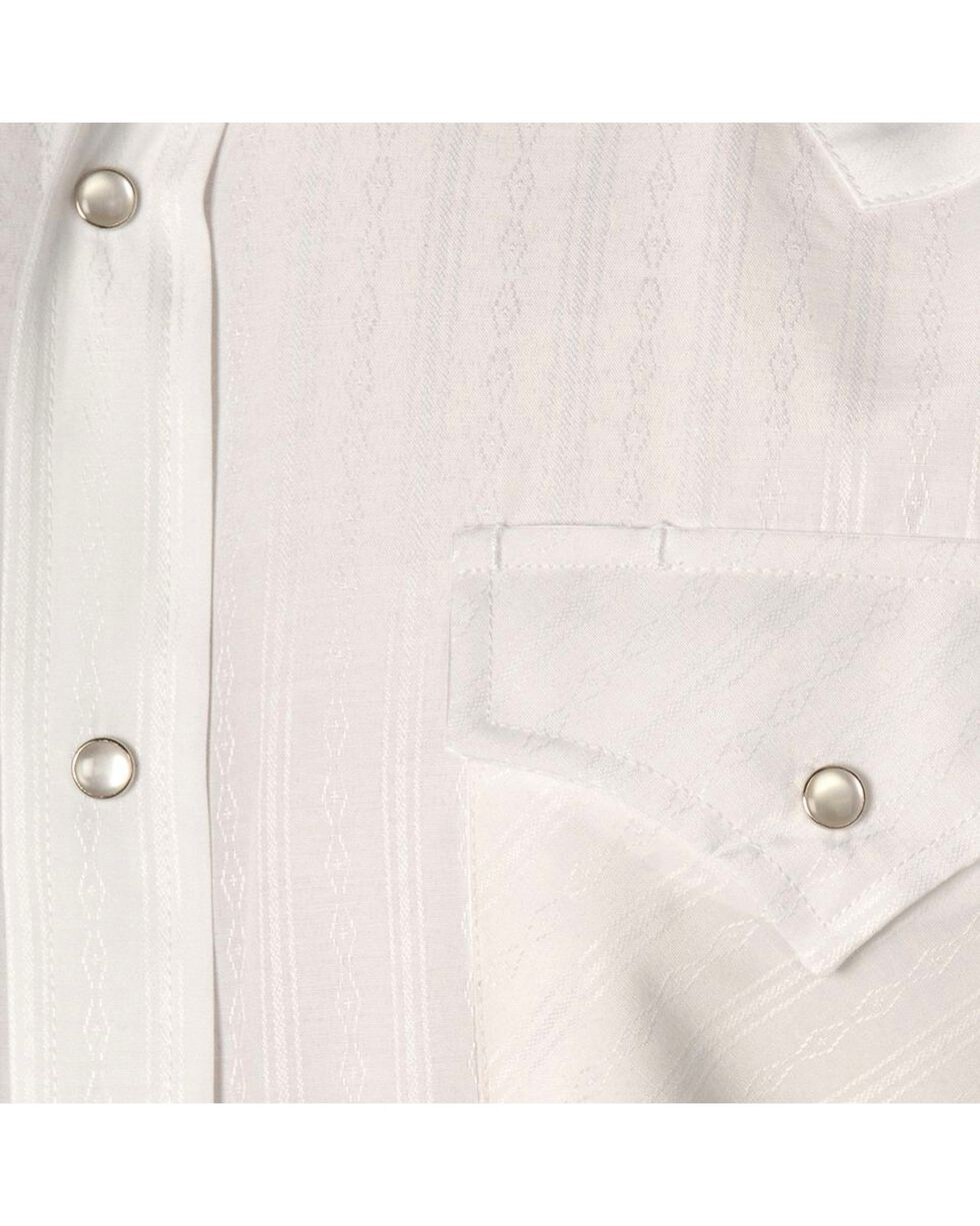 Ely Dobby Solid Western Dress Shirt, White, hi-res