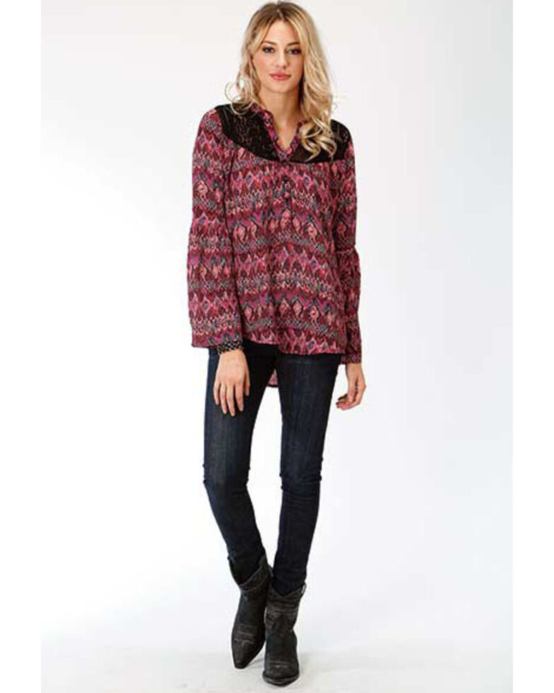 Studio West Women's Aztec Printed Peasant Blouse, Black, hi-res