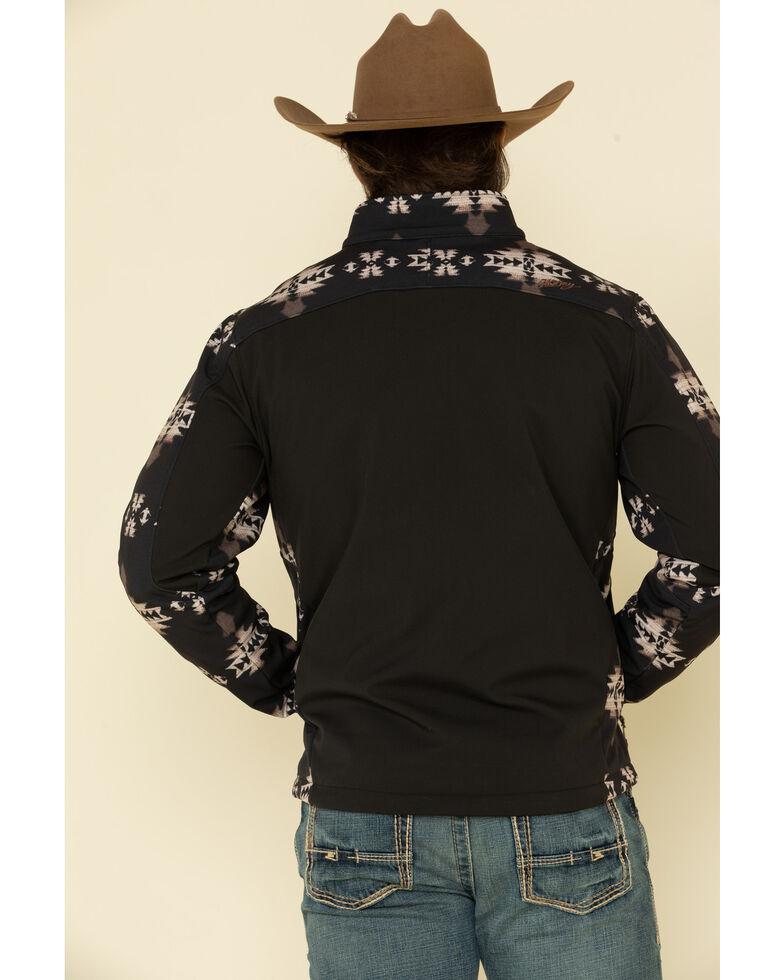 HOOey Men's Black Aztec Color Blocked Softshell Jacket , Black, hi-res