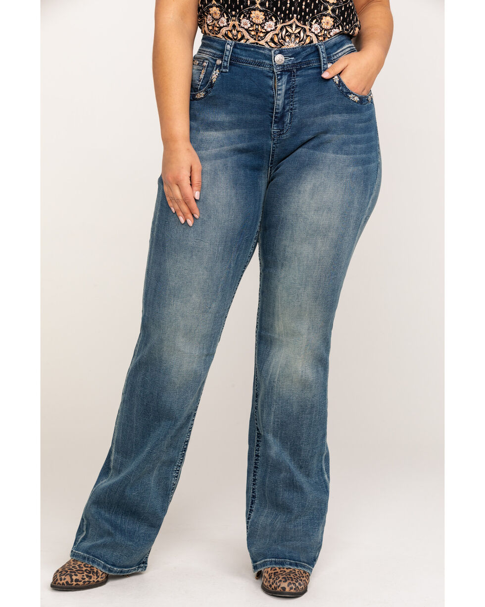 Grace In LA Women's Pastel Feather Pocket Embroidered Boot Jeans - Plus , Indigo, hi-res