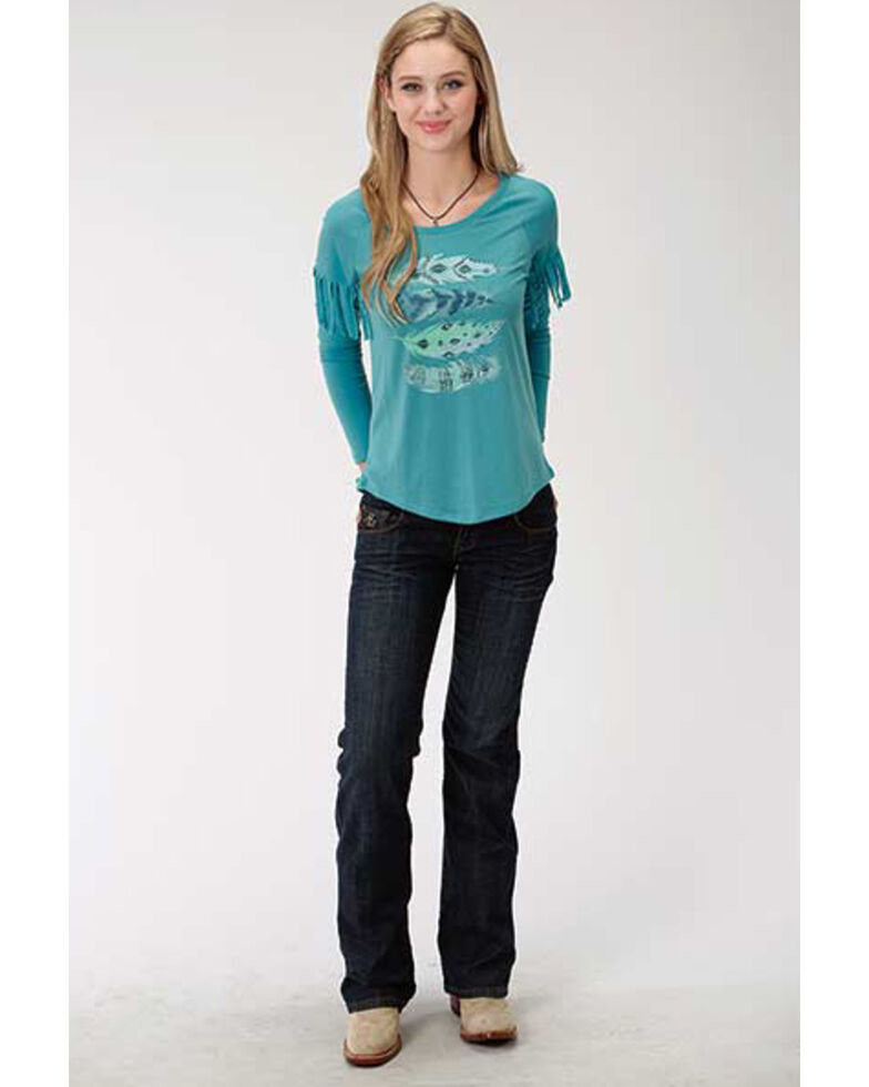 Five Star Women's Feather Long Sleeve Top, Blue, hi-res