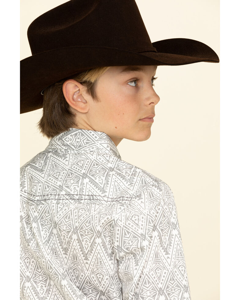Cody James Boys' Los Ranchos Aztec Print Long Sleeve Western Shirt , Light Grey, hi-res