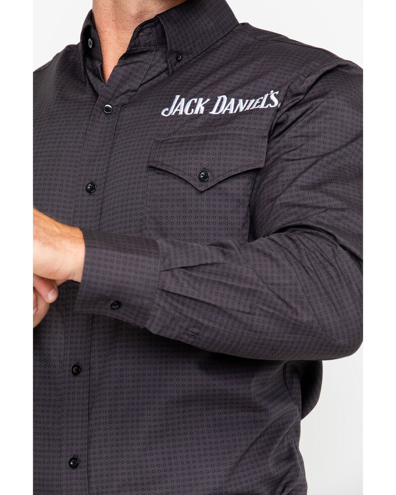 Jack Daniel's Men's Embroidered Mini Print Long Sleeve Western Shirt  , Black, hi-res