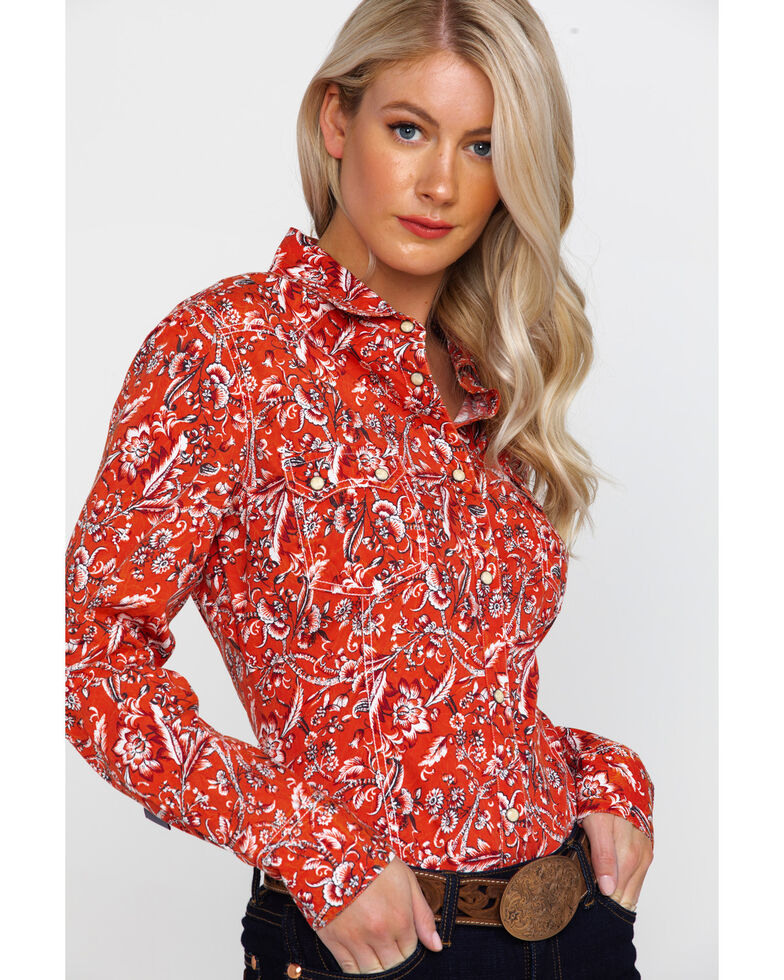 Rock & Roll Cowgirl Women's Floral Print Long Sleeve Western Shirt , Red, hi-res
