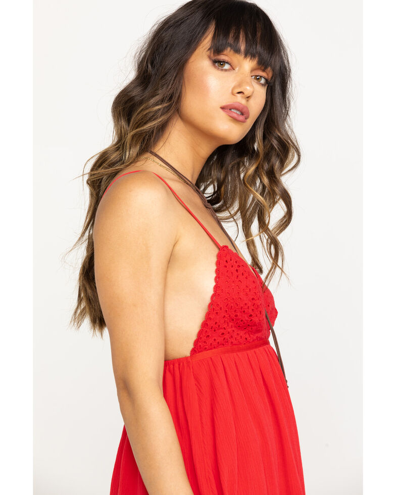 Coco + Jaimeson Women's Red Cherry On Top Lace Romper , Red, hi-res
