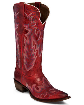 Justin Women's Elina Redstone Cowgirl Boots - Snip Toe , Red, hi-res