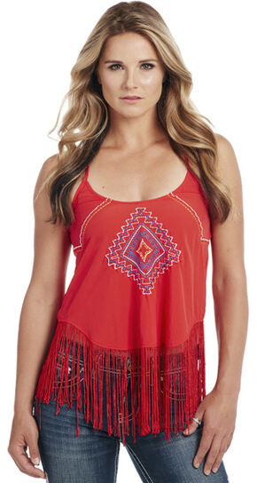 Cowgirl Up Women's Fringe Tank Top, Red, hi-res