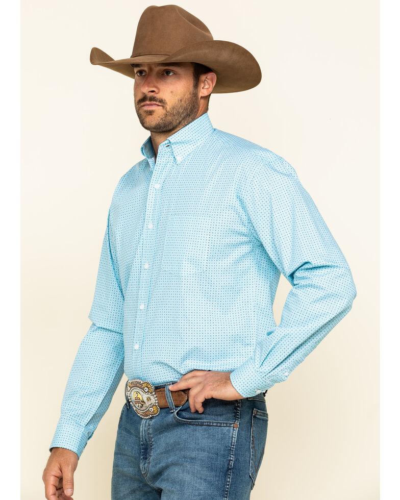 Stetson Men's Lattice Geo Print Long Sleeve Western Shirt , Blue, hi-res