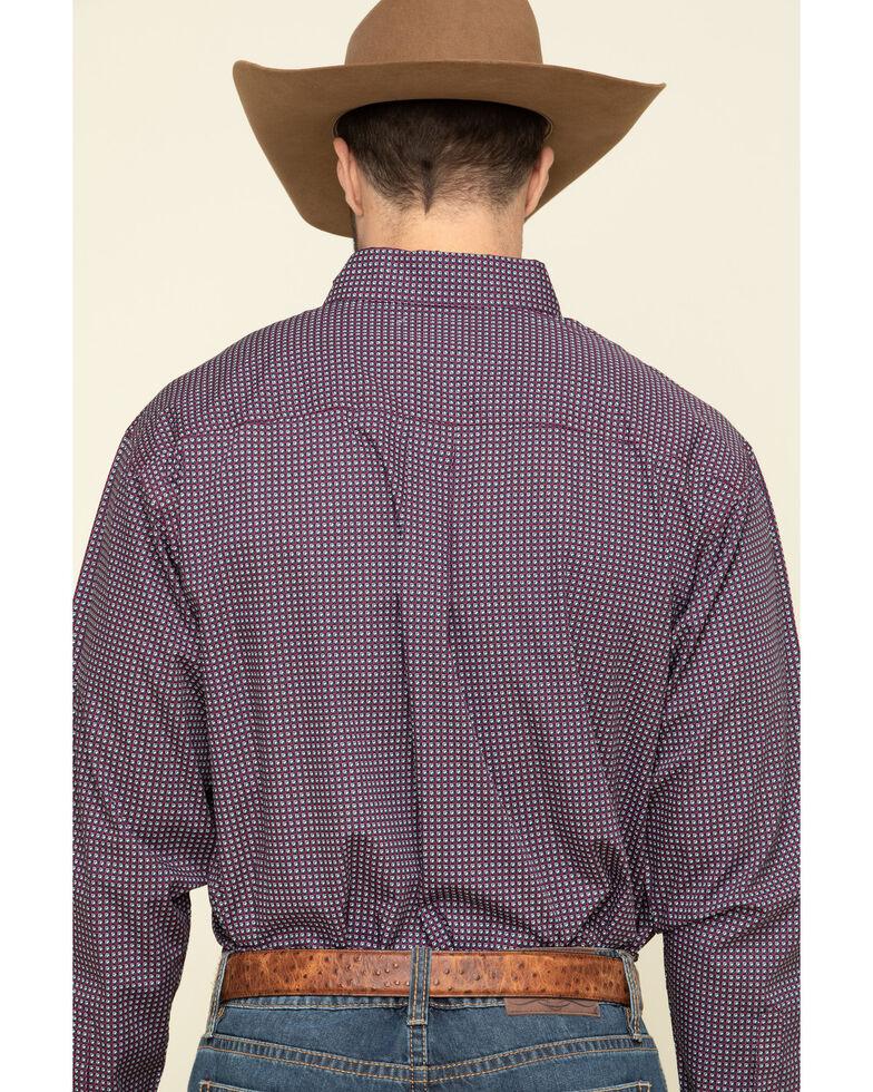 Cinch Men's Burgundy Small Geo Print Long Sleeve Western Shirt , Burgundy, hi-res