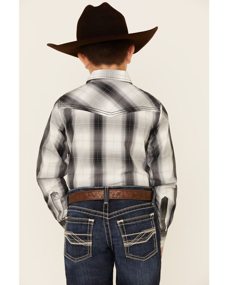 Cody James Boys' Reel In Plaid Long Sleeve Snap Western Shirt , White, hi-res