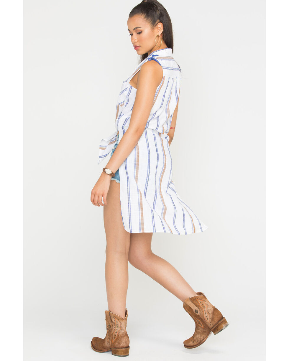 Shyanne Women's Striped Sleeveless Tunic, Ivory, hi-res