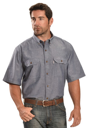 Carhartt Fort Short Sleeve Work Shirt, Blue, hi-res