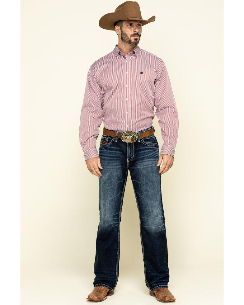 Cinch Men's Red Tencel Striped Long Sleeve Western Shirt , Red, hi-res