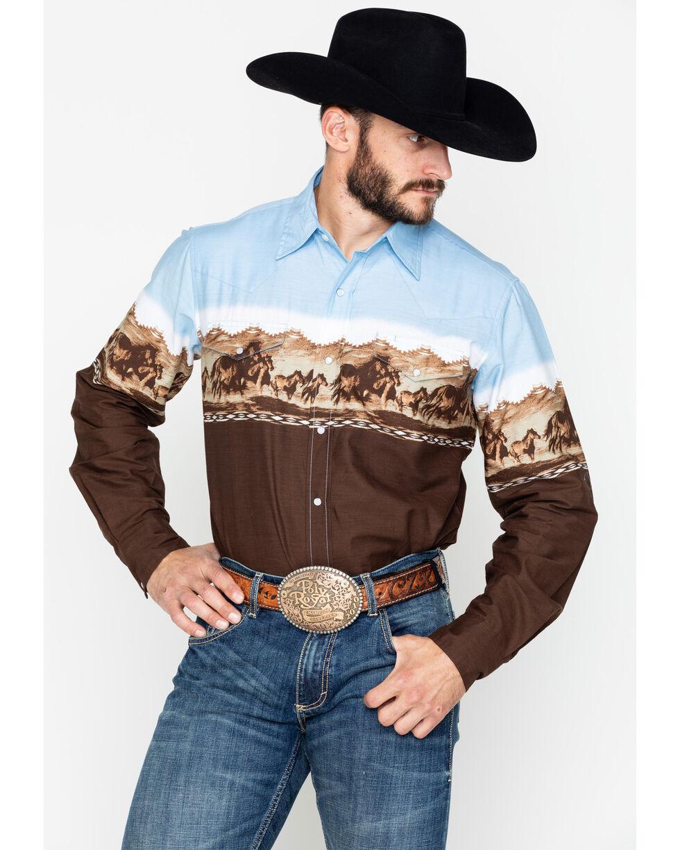 Roper Men's Border Print Long Sleeve Western Shirt, Brown, hi-res