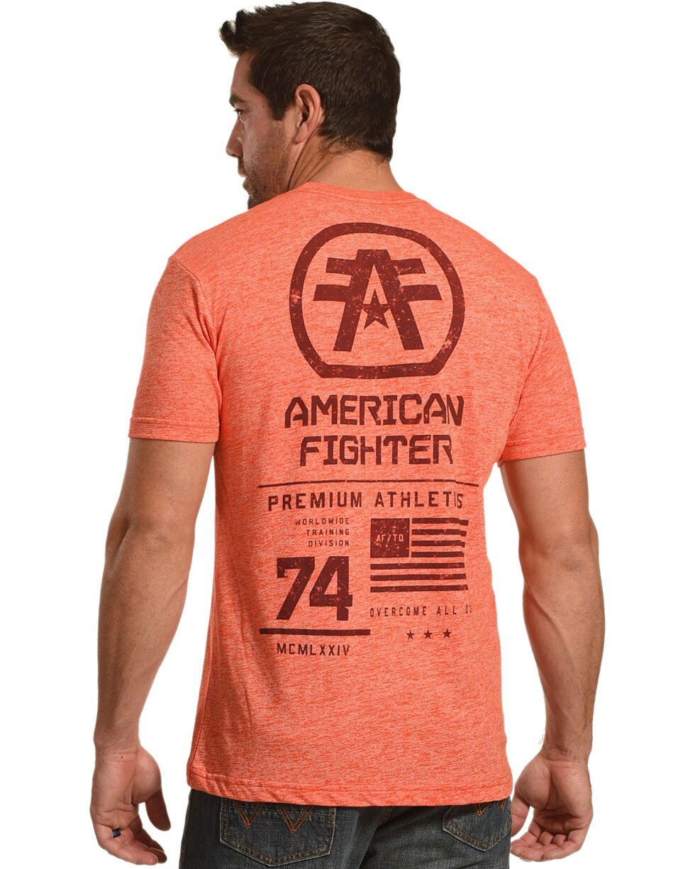 American Fighter Men's Orange Stacked Tee , Orange, hi-res