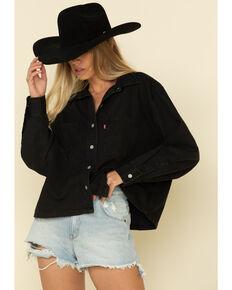 Levi's Women's Black Long Sleeve Crop Western Shirt, Black, hi-res