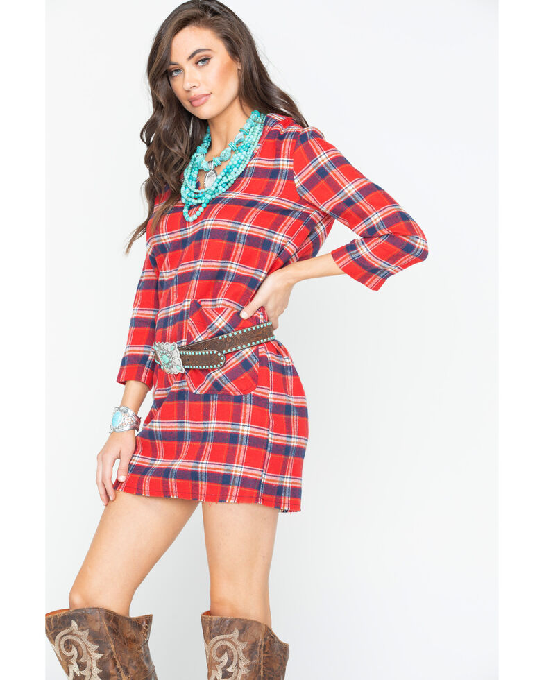 Glam Women's Red Flannel Plaid Raw Hem Pocket Dress , Red, hi-res