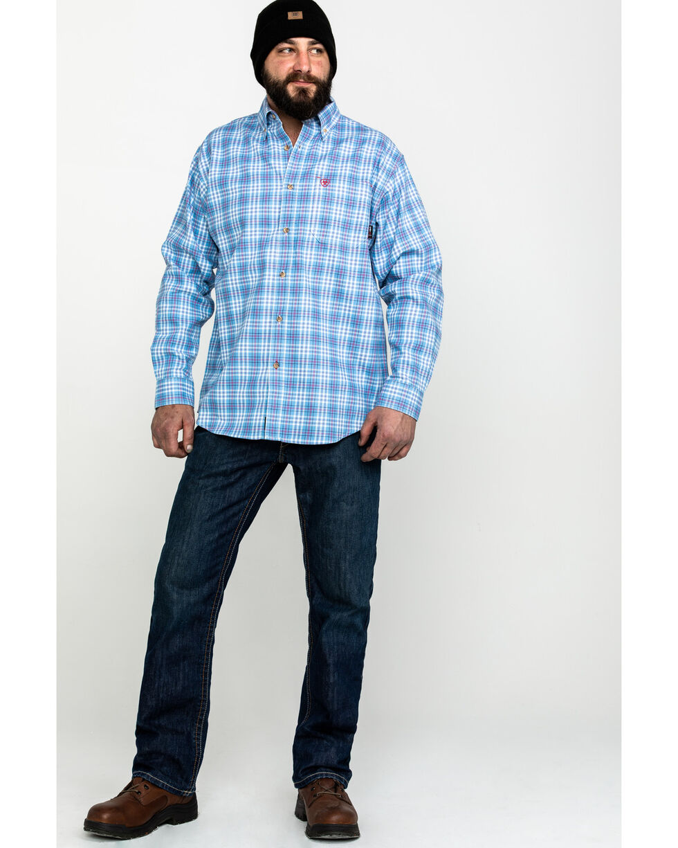Ariat Men's Coast Blue FR Jett Plaid Long Sleeve Work Shirt - Tall , Blue, hi-res