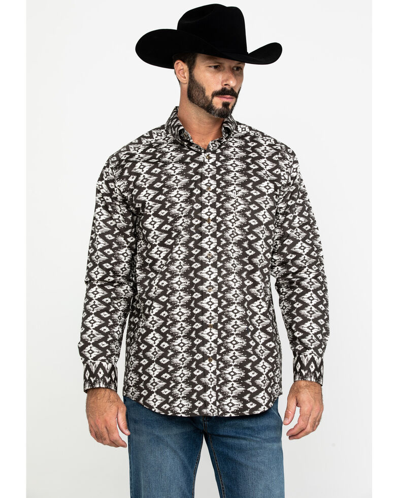 Tuf Cooper Men's Stretch Aztec Poplin Print Long Sleeve Western Shirt , Brown, hi-res