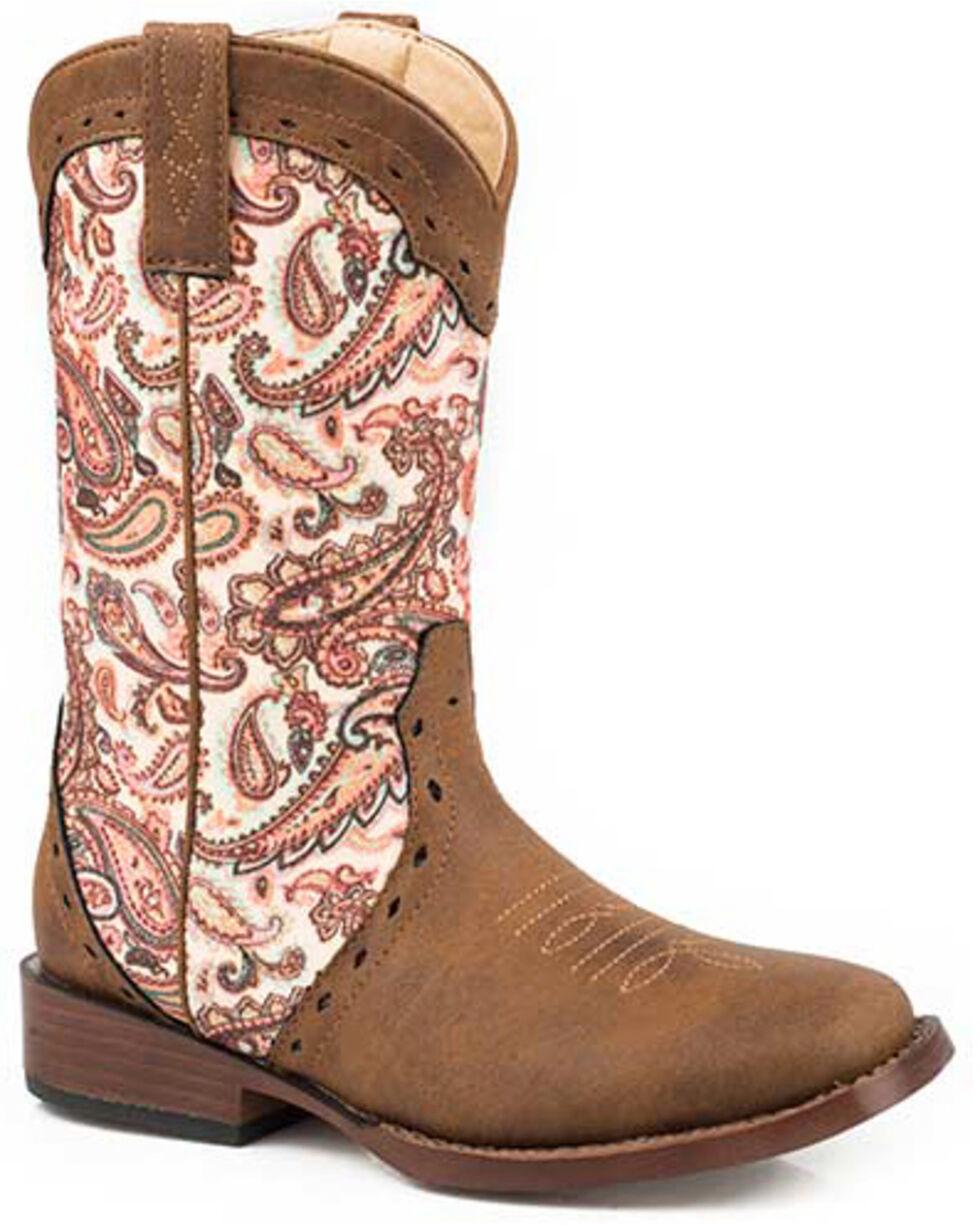 Roper Girls' Glitter Geo Print Western Boots - Round Toe, Brown, hi-res