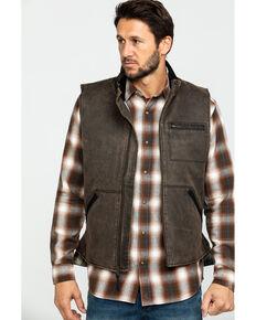 Cody James Men's Dusty 3.0 Oil Coated Zip-Up Vest , Brown, hi-res