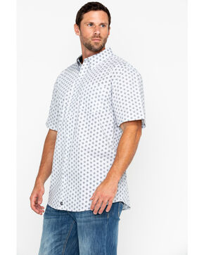 Cody James Men's White Orbit Print Short Sleeve Western Shirt, White, hi-res