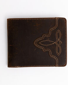 Cody James Men's Boot Stitch Bi-Fold Leather Wallet , Cognac, hi-res