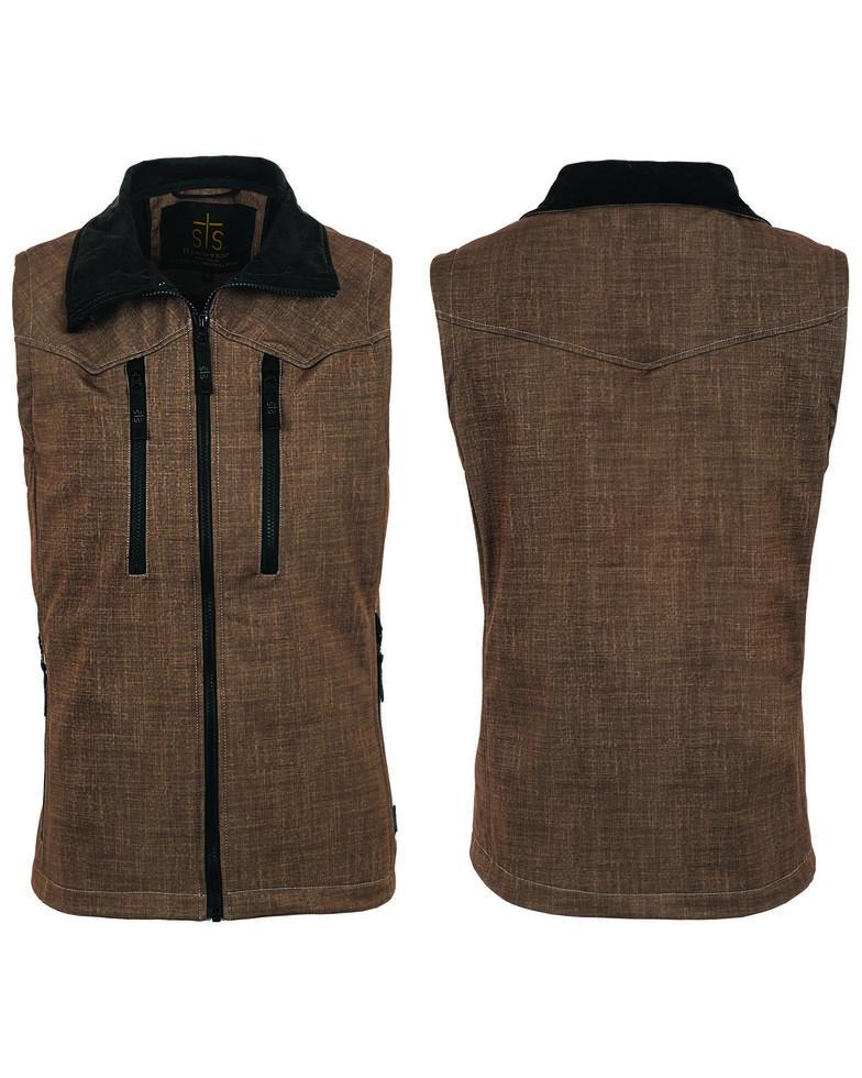 STS Ranchwear By Carroll Men's Softshell Perf Vest - Big , Black/brown, hi-res