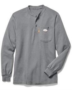 Rasco Men's FR Grey Henley Long Sleeve Work T-Shirt - Big , Grey, hi-res