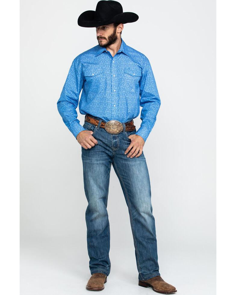 Roper Men's Amarillo Wallpaper Floral Print Long Sleeve Western Shirt , Blue, hi-res