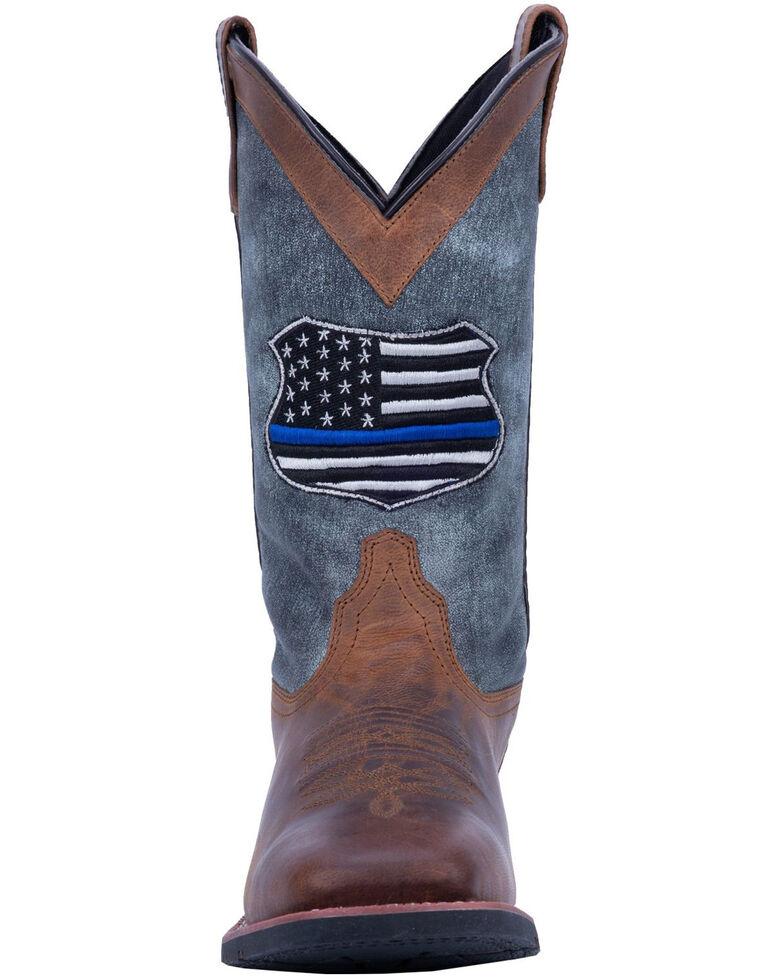 Laredo Men's We Back The Blue Western Boots - Wide Square Toe, Brown, hi-res