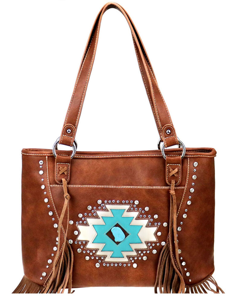 Montana West Women's Coffee Aztec Collection Concealed Carry Tote Bag, Brown, hi-res