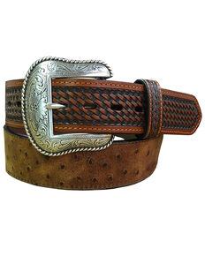 Roper Men's Cognac Ostrich Print Leather Belt , Cognac, hi-res