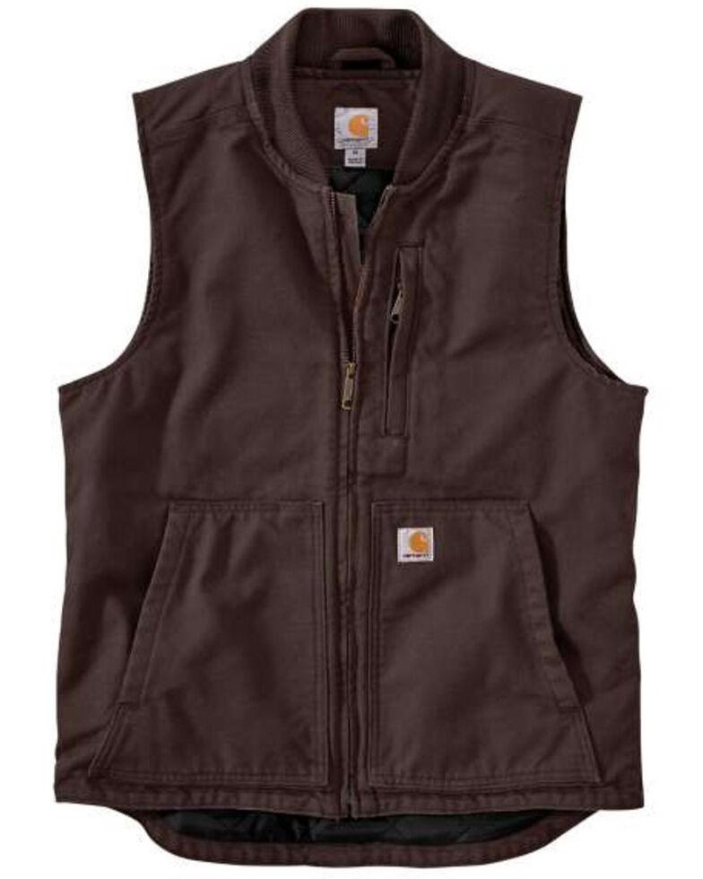 Carhartt Men's Dark Brown Washed Duck Insulated Rib-Collar Work Vest - Tall, , hi-res
