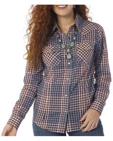 Wrangler Women's Vintage Violet Check Plaid Long Sleeve Western Shirt , Purple, hi-res