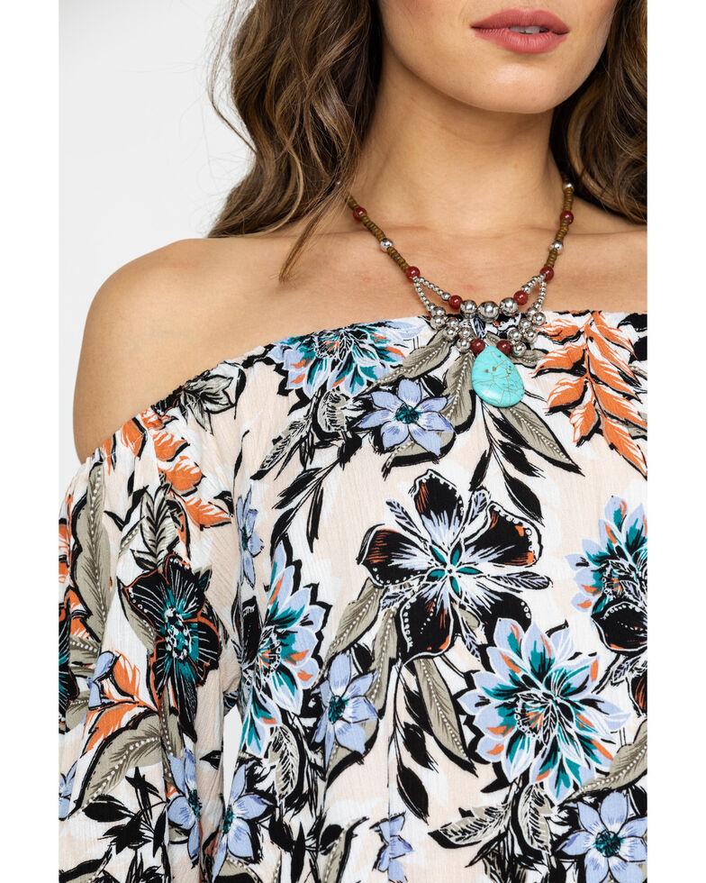 Shyanne Women's Floral Print Cold Shoulder Short Sleeve Top , Olive, hi-res