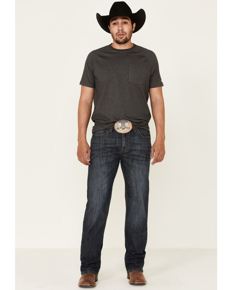 Rock & Roll Denim Men's Dark Vintage Double Barrel Stretch Relaxed Straight Jeans , Blue, hi-res
