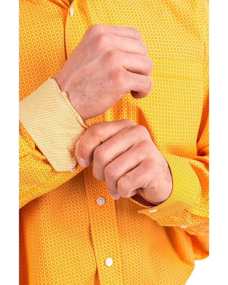 Cinch Men's Orange Square Geo Print Long Sleeve Western Shirt , Orange, hi-res