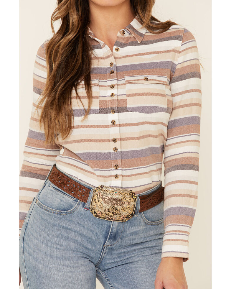 Shyanne Life Women's Tan Striped Long Sleeve Western Flannel Shirt , Tan, hi-res