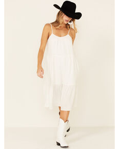 Very J Women's Tie Strap Linen Midi Sundress, White, hi-res