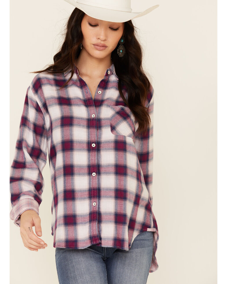 Flag & Anthem Women's Ramona Plaid Long Sleeve Button-Down Western Core Shirt , Wine, hi-res
