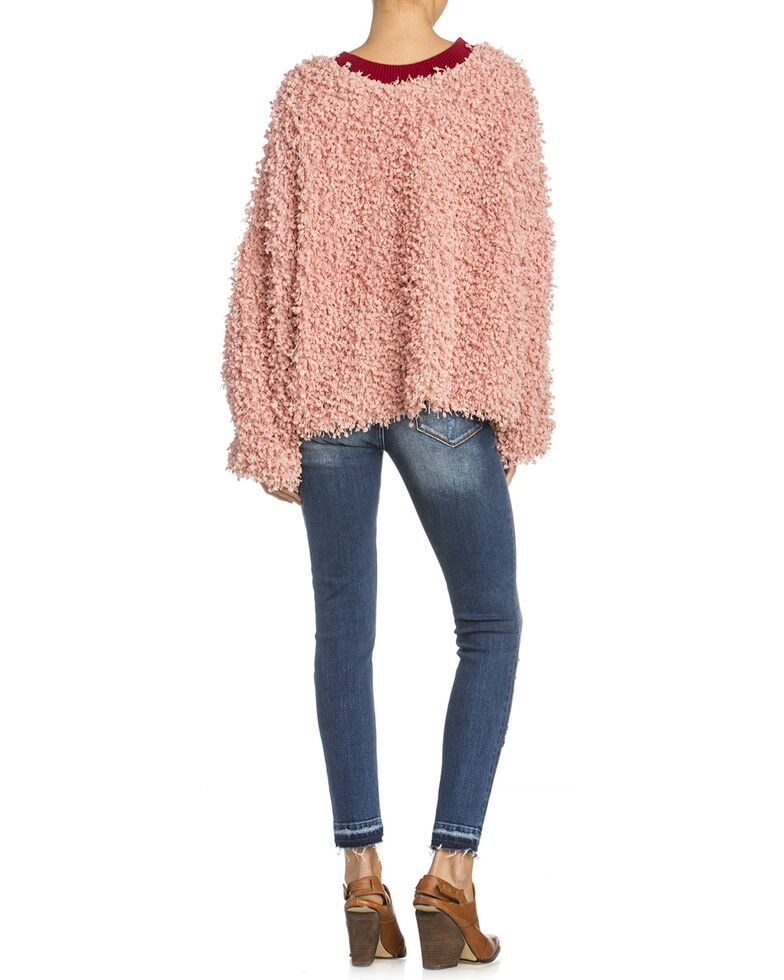 Miss Me Women's Blush Contrast Sweater , Light Pink, hi-res