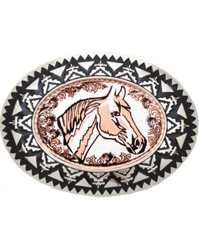 Western Express Men's Copper Horsehead with Filigree Belt Buckle , Rust Copper, hi-res
