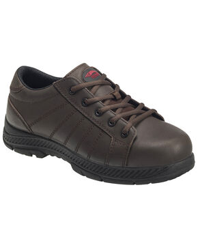 Avenger Men's Slip Resistant Oxford Work Shoes - Steel Toe, Brown, hi-res