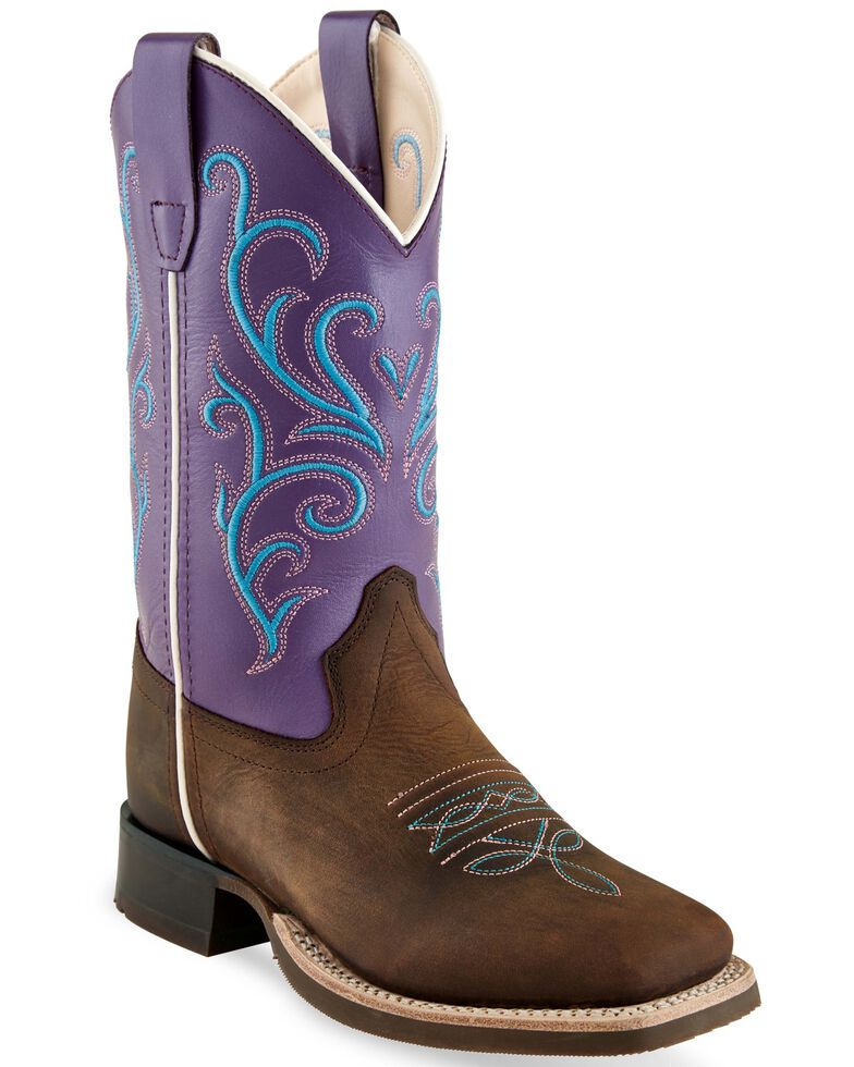 Old West Girls' Purple Western Boots - Square Toe, Brown, hi-res