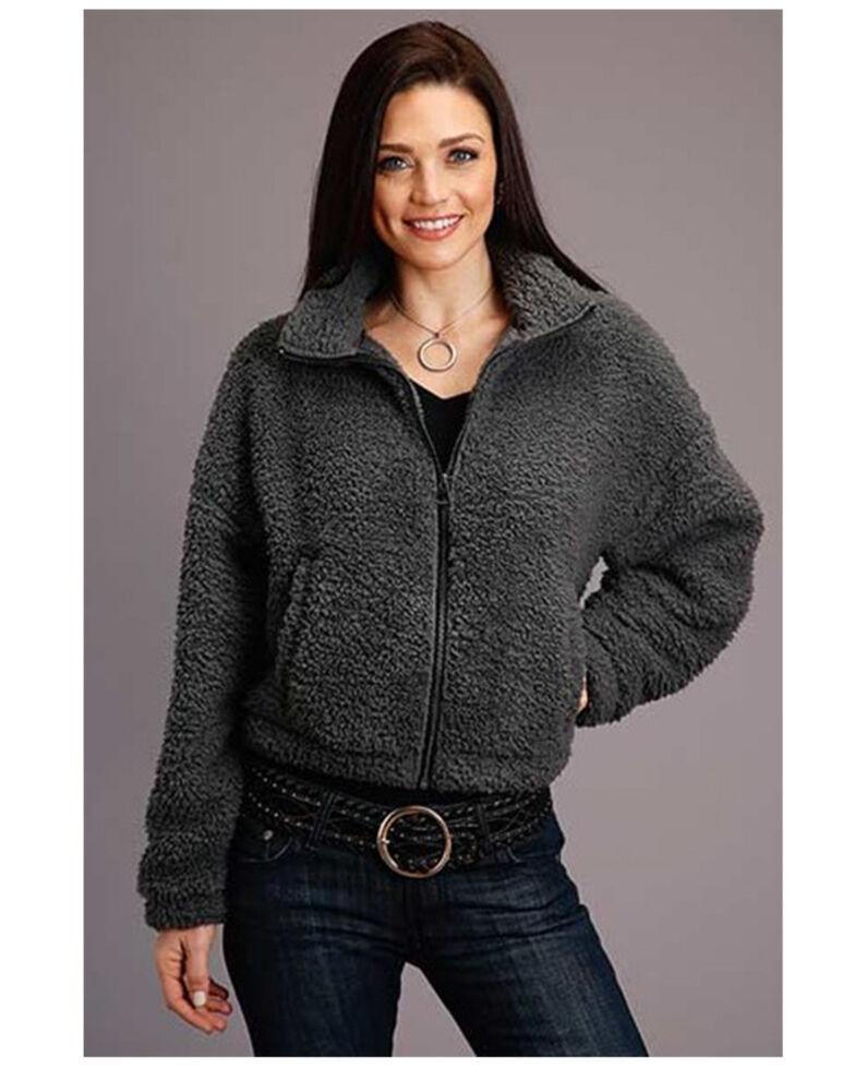 Stetson Women's Charcoal Fuzzy Fleece Jacket , Charcoal, hi-res