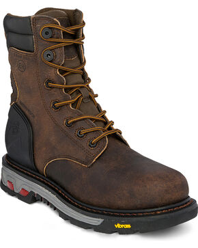"Justin Men's 8"" Laborer Brown EH Waterproof Work Boots - Comp Toe, Brown, hi-res"