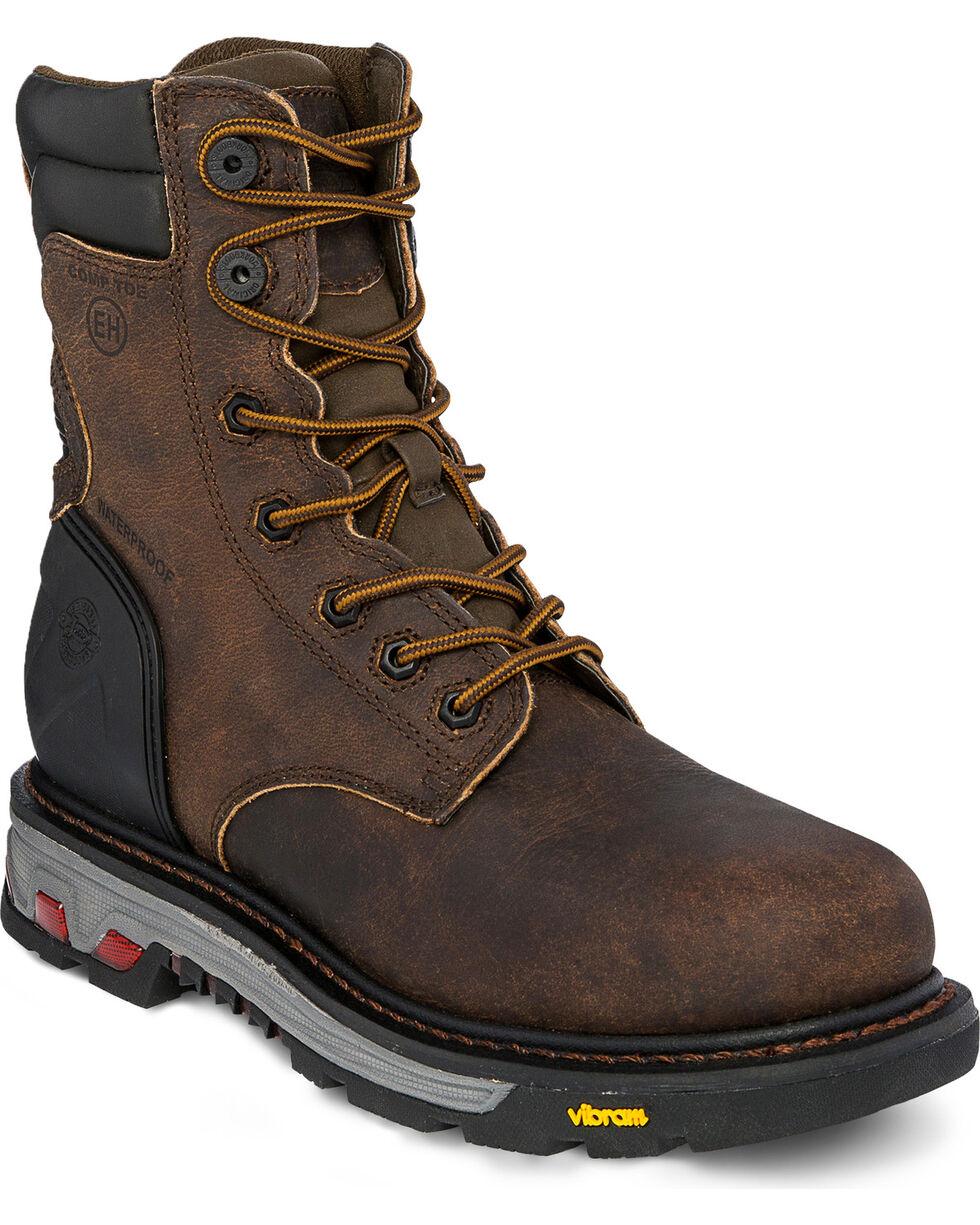 "Justin Men's 8"" Laborer Brown EH Waterproof Work Boots - Comp Toe, Brown, hi-res"