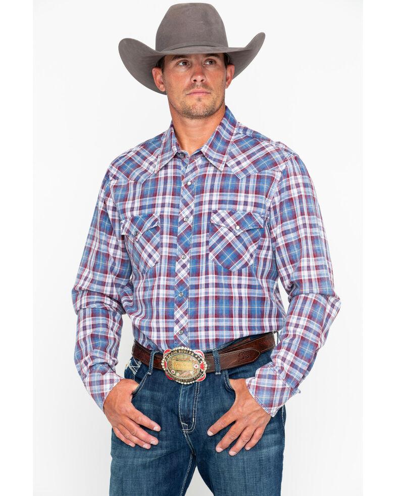Rock & Roll Denim Men's Double Dye Plaid Long Sleeve Western Shirt , Grey, hi-res