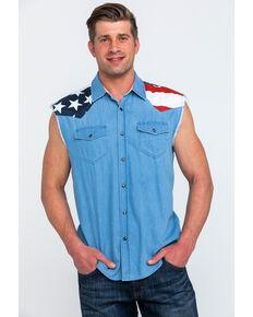1ecf68f8d47b5 Cody James Men s Light Chambray Sleeveless Denim Western Shirt
